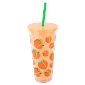 peach beker drink glas rietje perzik
