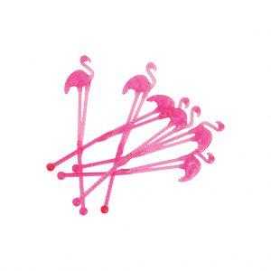 roerstaafjes flamingo feestje party