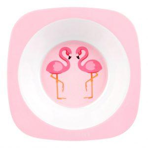 flamingo kom schaal kids bord peuter kleuter roze pink