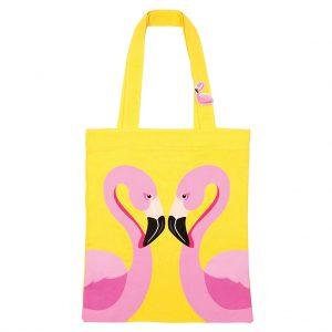 flamingo tas tote bag geel katoen