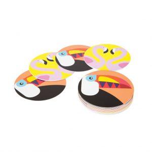 onderzetter coaster draaien flamingo toekan set