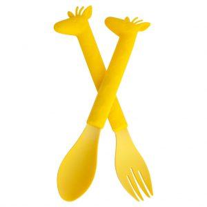 bestek kinderen geel lepel giraffe vork