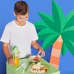 jongetje bestek giraffe bordje schaaktje tropical tropisch eten