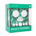 verpakking doos box radio beach sounds palm bladeren