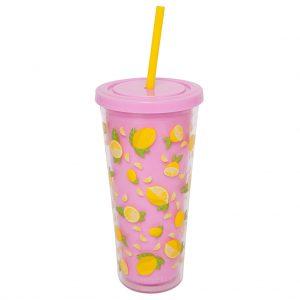 tumbler beker citroen geel roze